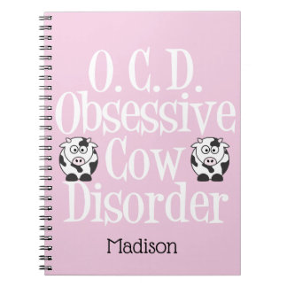 Caderno Espiral Desordem obsessiva bonito da vaca