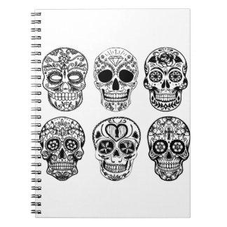 Caderno Espiral Diâmetro de los Muertos Crânio (dia do morto)