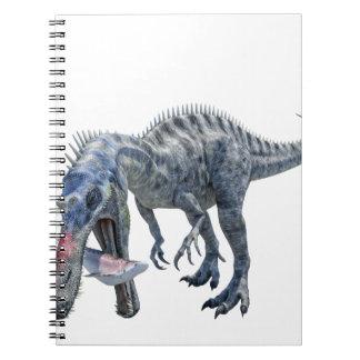 Caderno Espiral Dinossauro de Suchomimus que come um tubarão
