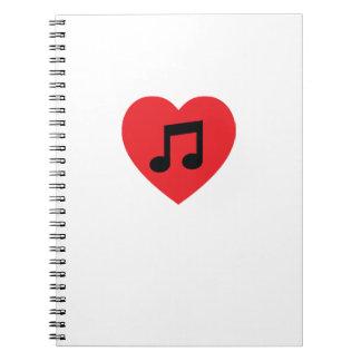 Caderno espiral do coração da nota da música