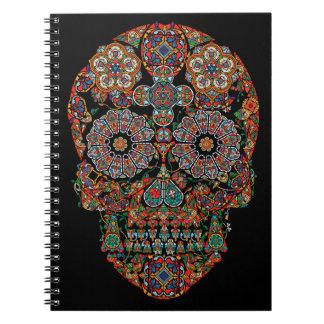 Caderno espiral do crânio do açúcar da flor