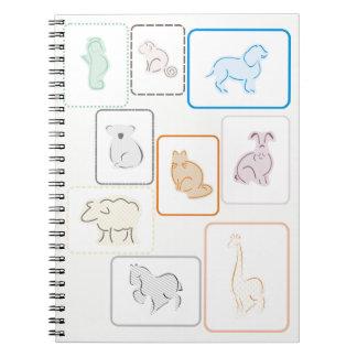 Caderno espiral do jardim zoológico Pastel