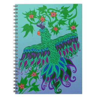 Caderno espiral do papagaio exótico