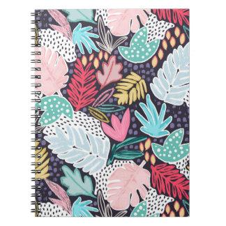 Caderno espiral do teste padrão tropical da palma