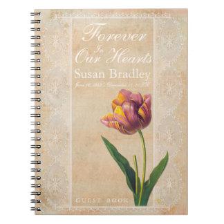 Caderno Espiral Do vintage do laço das tulipas livro de hóspedes