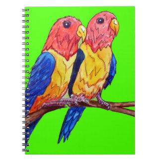 Caderno Espiral Dois papagaios em uma vara