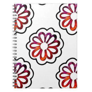 Caderno Espiral Doodle lunático de flower power