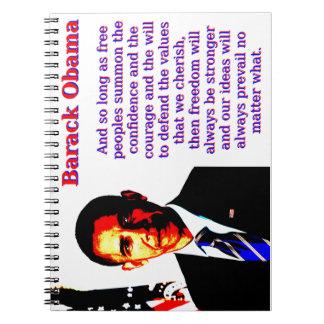 Caderno Espiral E contanto que povos livres - Barack Obama