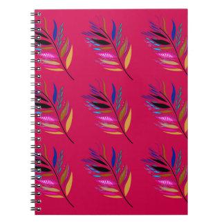 Caderno Espiral Edição selvagem de matéria têxtil das folhas/penas