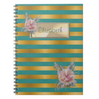Caderno Espiral Elegante, listrado, Floers, personalizado