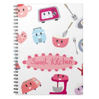 Caderno Espiral Eletricidade cor-de-rosa doce da cozinha e ícone