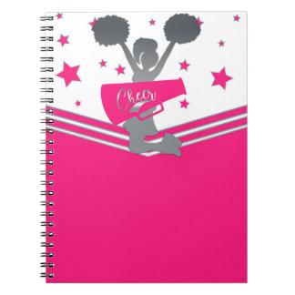 Caderno Espiral Elogio das estrelas do rosa quente & do branco