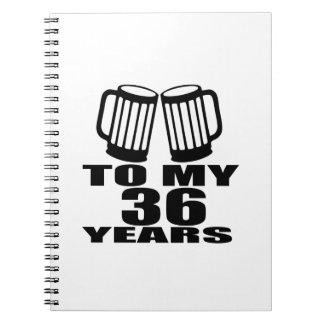 Caderno Espiral Elogios a meus 36 anos do aniversário