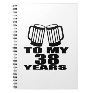 Caderno Espiral Elogios a meus 38 anos do design do aniversário