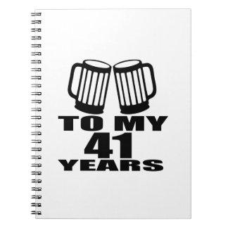 Caderno Espiral Elogios a meus 41 anos do design do aniversário