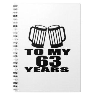 Caderno Espiral Elogios a meus 63 anos do aniversário
