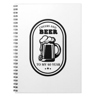 Caderno Espiral Elogios e cervejas do presente de aniversário de