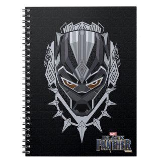 Caderno Espiral Emblema da cabeça da pantera preta de pantera