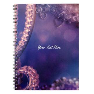 Caderno Espiral Encanto chique do fulgor roxo Glam personalizado