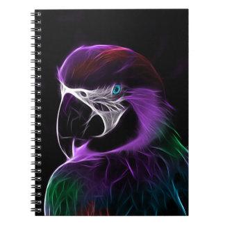 Caderno Espiral escala do design do fractal do papagaio
