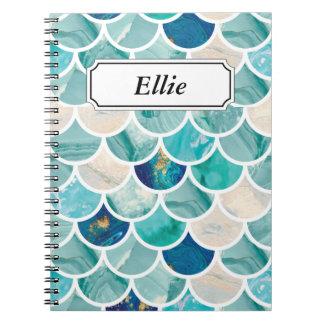 Caderno Espiral Escalas de peixes da sereia do mármore de turquesa