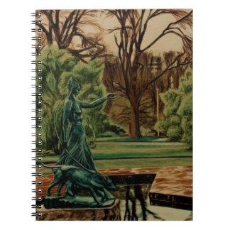 Caderno Espiral Escultura de Diana Artemis nos jardins