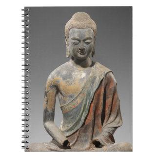 Caderno Espiral Escultura descolorada de Buddha - dinastia de Tang