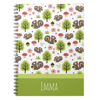 Caderno Espiral Esquilo no teste padrão da floresta do carvalho