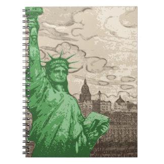 Caderno Espiral Estátua da liberdade clássica