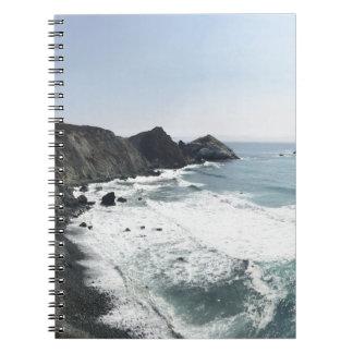Caderno Espiral Estrada Sur grande da Costa do Pacífico da vista