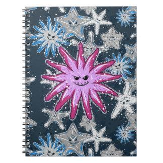 Caderno Espiral Estrela do mar engraçada dos Coroa--Espinhos com
