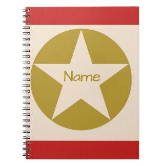 Caderno Espiral Estrela vermelha de Tan e de ouro em um nome do