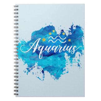Caderno Espiral Estrelas azuis do ouro da aguarela do Aquário do