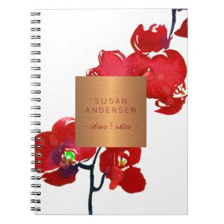 Caderno Espiral Etiqueta metálica de cobre elegante da orquídea