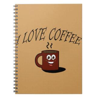 Caderno Espiral Eu amo o café