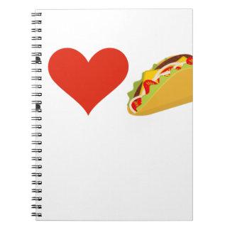 Caderno Espiral Eu amo o Tacos para amantes do Taco