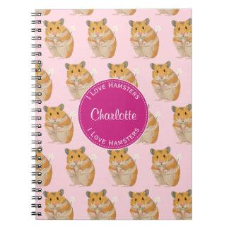 Caderno Espiral Eu amo o teste padrão cor-de-rosa do hamster dos