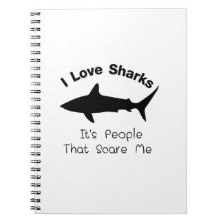 Caderno Espiral Eu amo tubarões que é pessoas esse susto mim
