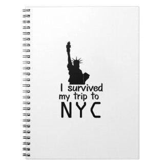 Caderno Espiral Eu sobrevivi a minha viagem a Nyc