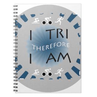 Caderno Espiral Eu tri conseqüentemente mim sou Triathlon