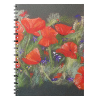 Caderno Espiral Exposição vermelha selvagem das papoilas