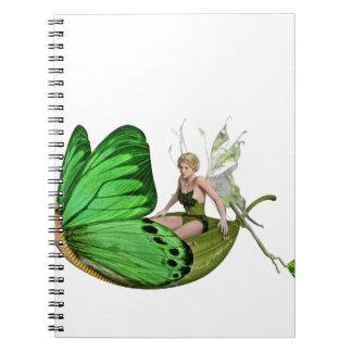 Caderno Espiral Fada de Elven em um barco da folha