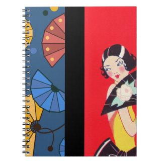 Caderno Espiral Fãs japoneses e azul vermelho do ouro da menina
