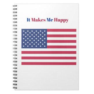 Caderno Espiral Faz-me a bandeira americana feliz