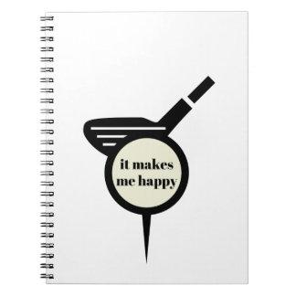 Caderno Espiral Faz-me a caneca do Feliz-Golfe