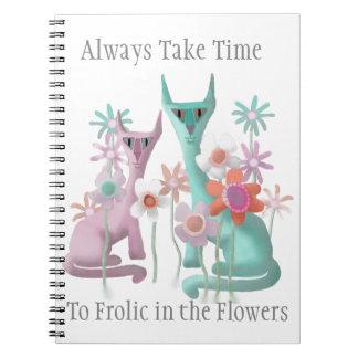 Caderno Espiral Felines nas flores