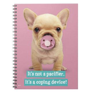 Caderno Espiral Filhote de cachorro bonito com Pacifier