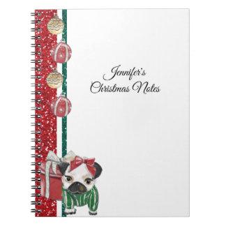 Caderno Espiral Filhote de cachorro do Natal no ouro vermelho e no