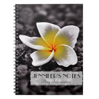 Caderno Espiral Flor de Havaí do Frangipani do Plumeria