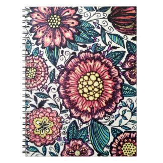 Caderno espiral floral